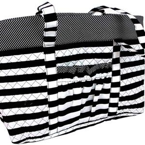 """Black & White Stripe Quilted Tote Bag 20""""x15""""x3"""""""